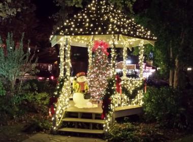 Gazebo Downtown Gatlinburg with Snowman and Christmas Lights